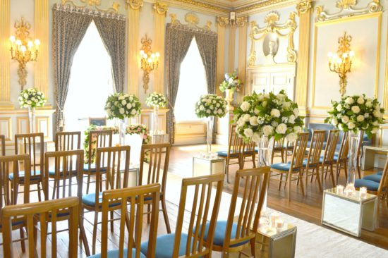 Wedding aisle white roses and green flower tall vase arrangements Cherie Kelly Knowsley Hall