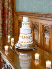 White and Gold Ornate Baroque wedding cake Cherie Kelly London Knowsley Hall