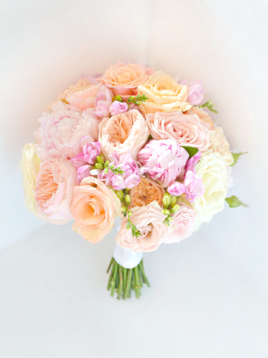 Coral, Peach and Pink Peony David Austin Rose Summer Wedding Bouquet Cherie Kelly London