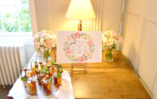 Coral, Peach and Pink Summer Wedding Flowers and Cake Table in Burgh House Cherie Kelly London