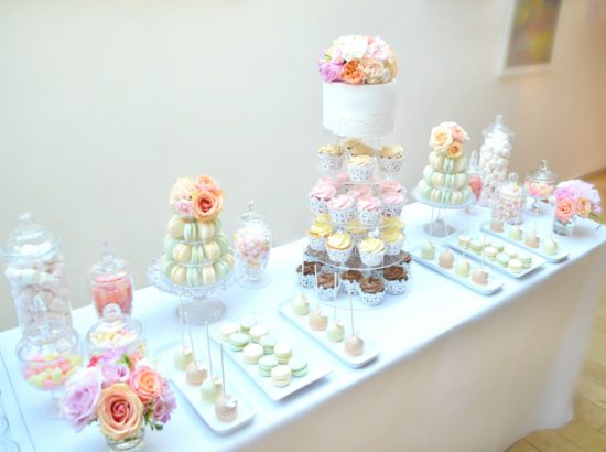 Coral, Peach and Pink Summer Wedding Flowers and Wedding Cupcakes Tower Macarons Tower Cake Table in Burgh House Cherie Kelly London