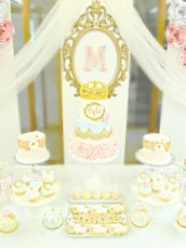 Pink, Blue and Gold Princess Themed Birthday Party Cake Table Cherie Kelly London