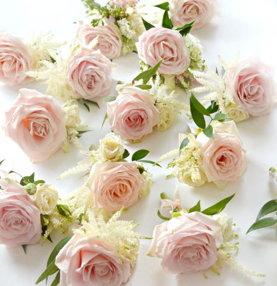 Blush Pink Avalanche rose and cream astilbe buttonholes Cherie Kelly Wedding Flowers London Bingham Hotel Richmond