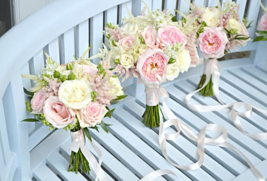 Blush Pink and Cream Wedding Flowers and Cake at Bingham Hotel ...