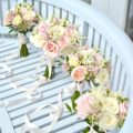 Blush Pink and cream Avalanche rose and astilbe Bridal bouquet bridesmaids bouquet with long ribbon wedding Cherie Kelly Wedding Flowers London Bingham Hotel Richmond