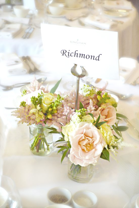 Blush Pink and cream Avalanche rose and astilbe jam jars wedding centrepieces Cherie Kelly Wedding Flowers London Bingham Hotel Richmond
