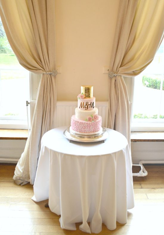 4 Tiers Pink, White and Gold Leaf Sugar Hydrangeas and Roses Wedding Cake Cherie Kelly London
