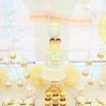 Light Blue, Yellow and Gold Hot Air Balloon Themed Twins First Birthday Party Cake Table and Decorations Cherie Kelly London