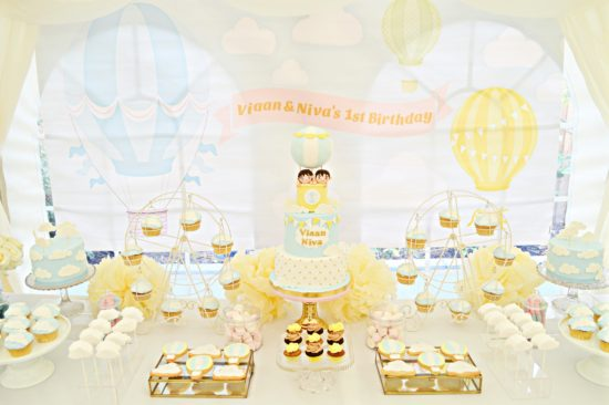 Light Blue Yellow And Gold Hot Air Balloon Themed Twins