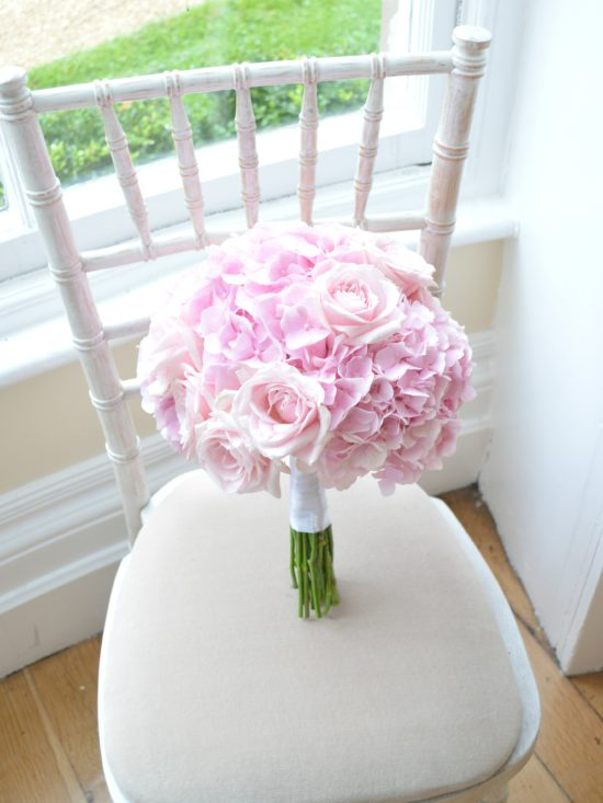 Pink Hydrangeas and Rose Bridal Bouquet Eastington Park Cherie Kelly Wedding Flowers