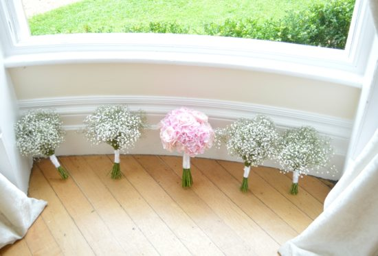 Pink Hydrangeas and Rose Bridal Bouquet and gypsophila bridesmaids' bouquets Eastington Park Cherie Kelly Wedding Flowers
