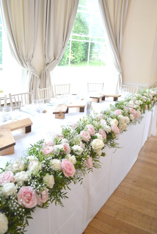 Pink and White Head Table Flowers Arrangement Floral Runner Eastington Park Cherie Kelly Wedding Flowers