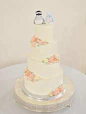 Rustic Orange and Peach Buttercream Flowers Wedding Cake with Totoro Bride and Groom Cake Topper at Rivervale Barn Hampshire Cherie Kelly