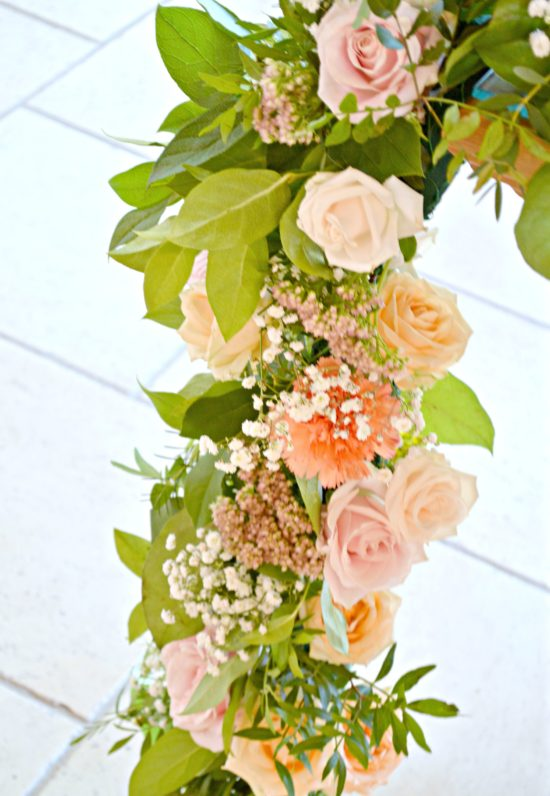 Rustic Orange and Peach Wedding Ceremony Registrar Garland Flowers at Rivervale Barn Hampshire Cherie Kelly