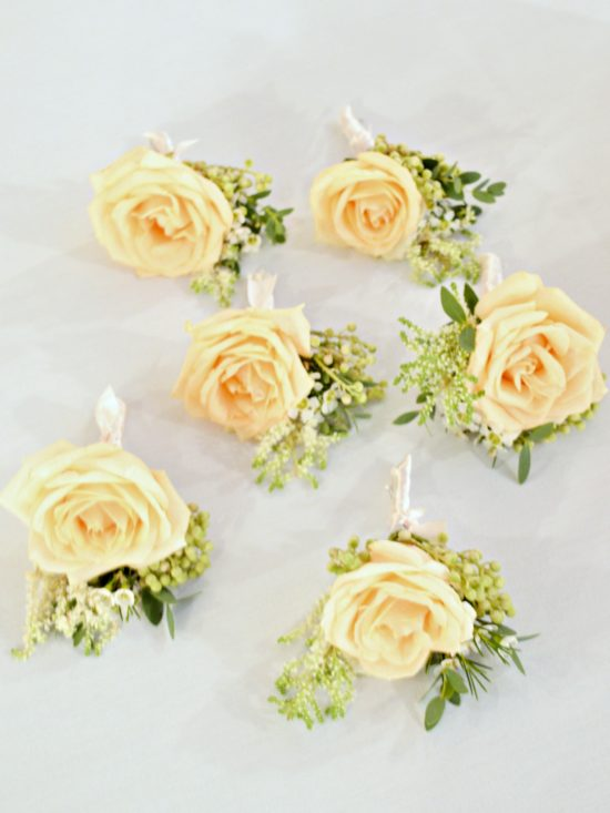 Rustic Orange and Peach Wedding Flowers Buttonholes at Rivervale Barn Hampshire Cherie Kelly