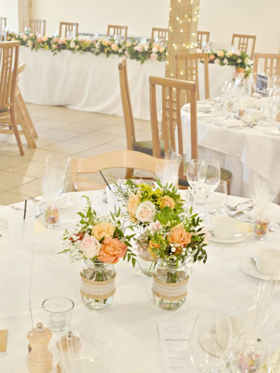 Rustic Orange And Peach Wedding Flowers And Cake At Rivervale Barn