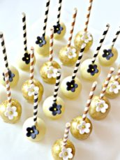 Gold, Black and White Gatsby Themed 1920s Art Deco Cake pops Cherie Kelly London