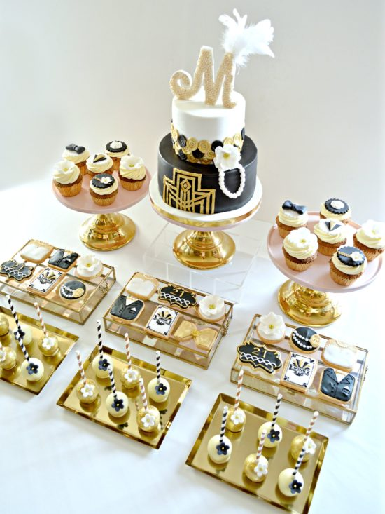 Gold, Black and White Gatsby Themed Black 1920s Art Deco Cake, Cupcakes, Cookies and Cake Pops Cake Desserts Table Birthday Party Cherie Kelly London