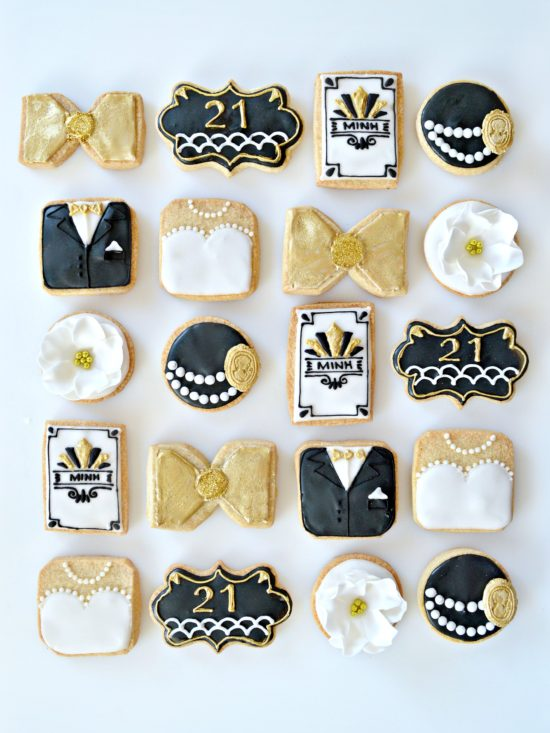 Gold, Black and White Gatsby Themed Black Tie Bride and Groom 1920s Art Deco Cookies Cherie Kelly London