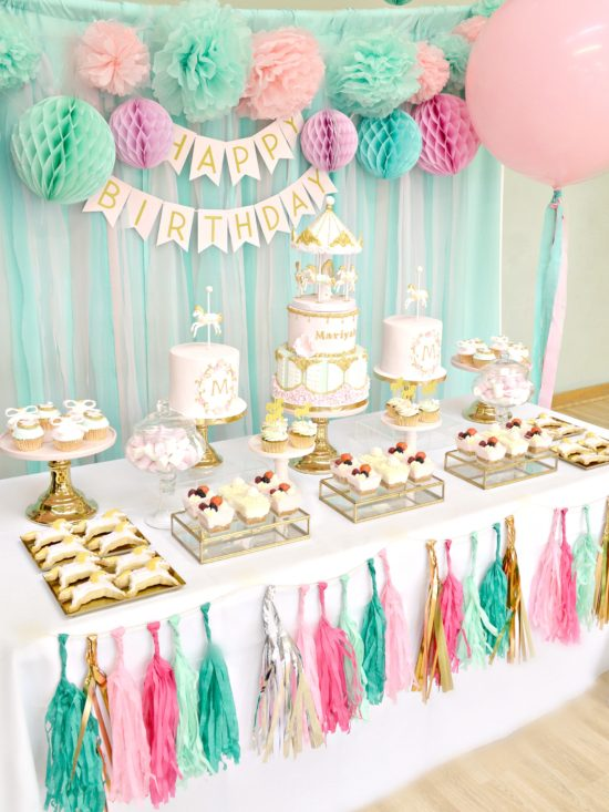 Birthday Cake Table Decoration Ideas : Pink, Mint and Gold Carousel Cake Dessert Table Cherie Kelly