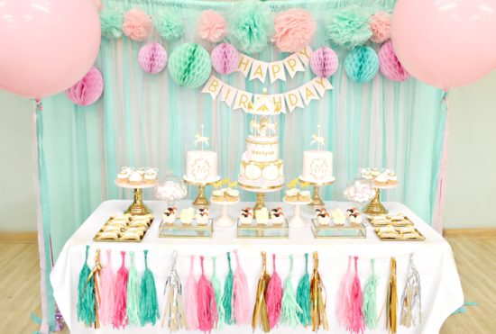 Pink Mint And Gold Carousel Cake Dessert Table Ch 233 Rie Kelly