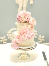 Pink Roses and Hydrangeas Flower Cascade Buttercream Wedding Birthday cake Cherie Kelly London Lanesborough Hotel