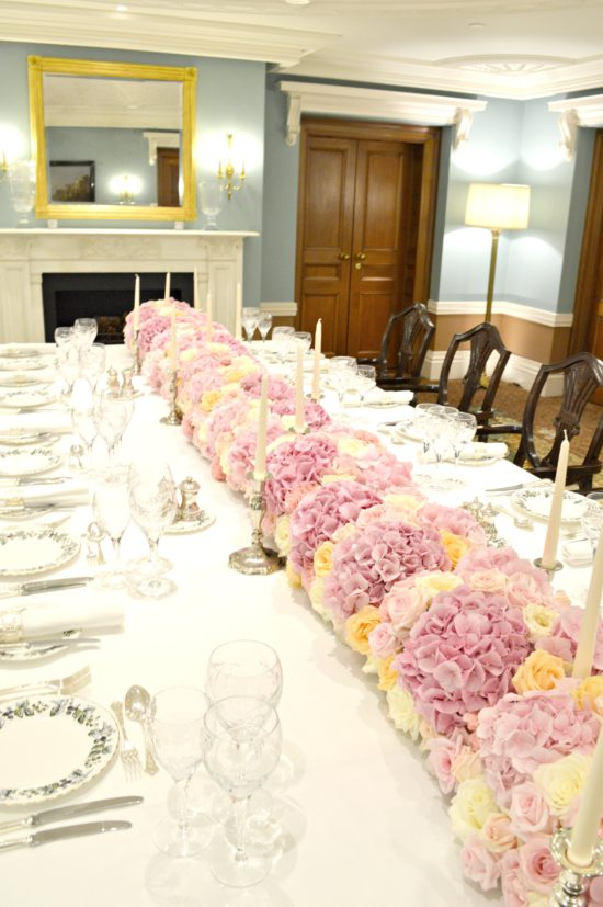 Pink Roses And Hydrangeas Flower Garland Runner Arrangement For Wedding Or Birthday Party Cherie Kelly London