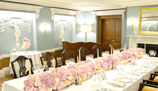 Pink Roses and Hydrangeas Flower Garland Runner Arrangement for Wedding or Birthday Party Cherie Kelly London Lanesborough Hotel