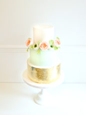 3 tier matcha mint green and gold leaf sugar David Austin garden roses and ranunculus wedding cake Cherie Kelly