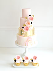Millennial pink marble and gold leaf sugar David Austin garden roses berries and cherry blossom wedding cake and cupcakes London Cherie Kelly