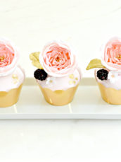 Millennial pink god leaf cupcakes with sugar David Austin garden roses berries Cherie Kelly cakes London