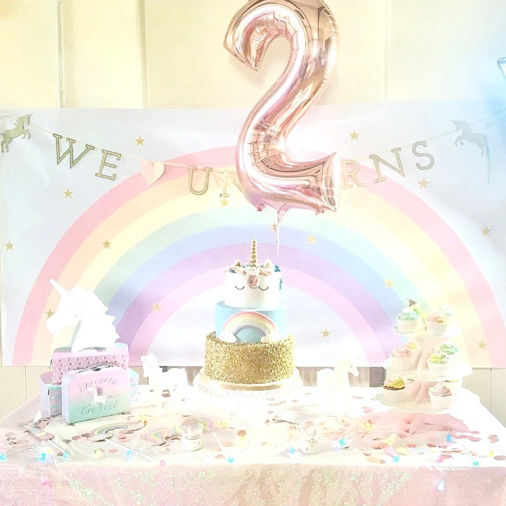 Pastel Rainbow and Gold Sequin Unicorn Cake and Backdrop Cherie Kelly London