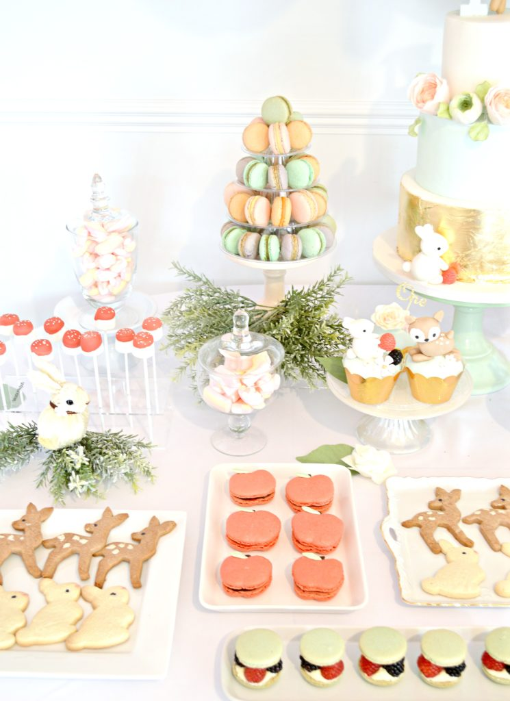 Peach, Mint Green and Gold Woodland Themed Deer and Bunny Rabbit Cake Cupcakes Cookies Marcaron Tower Marshmallow Pops Cherie Kelly London