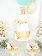Peach, Mint Green and Gold Woodland Themed Deer and Bunny Rabbit Cake Cupcakes Table Balloon Arch 10 Cherie Kelly London