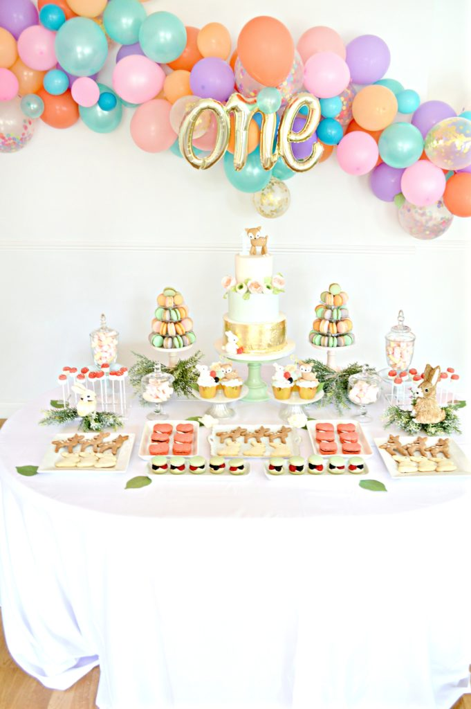 Peach, Mint Green and Gold Woodland Themed Deer and Bunny Rabbit Cake Dessert Table Balloon Arch 12