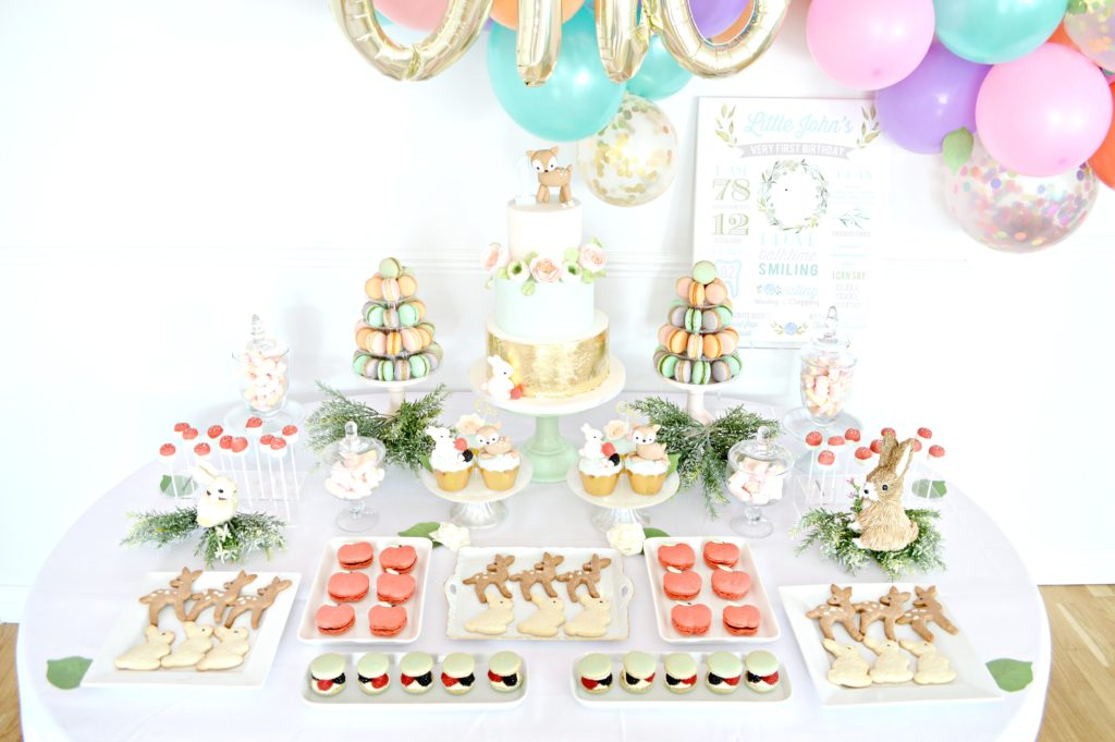 Peach, Mint Green and Gold Woodland Themed Deer and Bunny Rabbit Cake Dessert Table Balloon Arch Cherie Kelly London 8