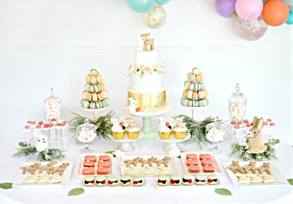 Peach, Mint Green and Gold Woodland Themed Deer and Bunny Rabbit Cake Dessert Table Cherie Kelly London 11