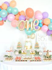 Peach, Mint Green and Gold Woodland Themed Deer and Bunny Rabbit Cake Table Balloon Arch 1 Cherie Kelly London