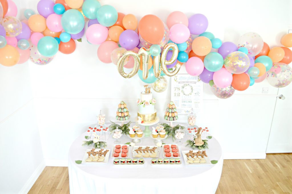 Peach, Mint Green and Gold Woodland Themed Deer and Bunny Rabbit Cake Table Balloon Arch 3 Cherie Kelly London
