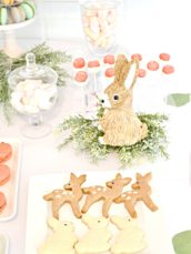 Peach, Mint Green and Gold Woodland Themed Deer and Bunny Rabbit Cookies Marcaron Tower Marshmallow Pops Cherie Kelly London