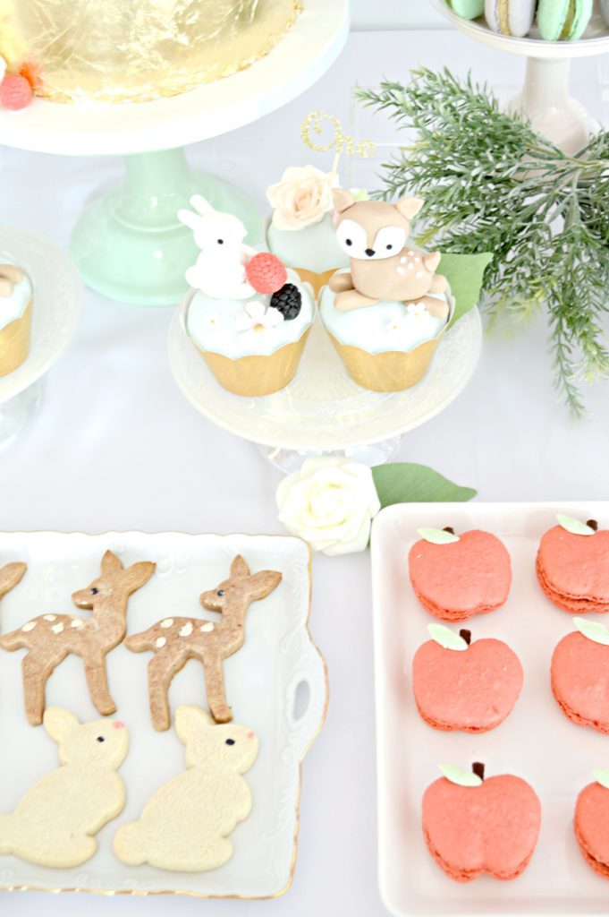 Peach, Mint Green and Gold Woodland Themed Deer and Bunny Rabbit Cupcakes Cookies Marcaron Cherie Kelly London