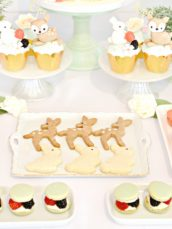 Peach, Mint Green and Gold Woodland Themed Deer and Bunny Rabbit Cupcakes Cookies Marcaron Tower Marshmallow Pops Cherie Kelly London