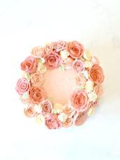 Pink Korean buttercream roses flowers wreath cake Cherie Kelly London