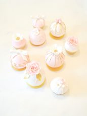 Pink, White and Gold Bridal Shower Roses Cupcakes and Bauble Cakes Cherie Kelly London