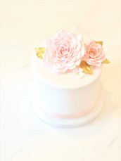 Pink, White and Gold Bridal Shower Sugar Roses and Gold leaves Cake Cherie Kelly London