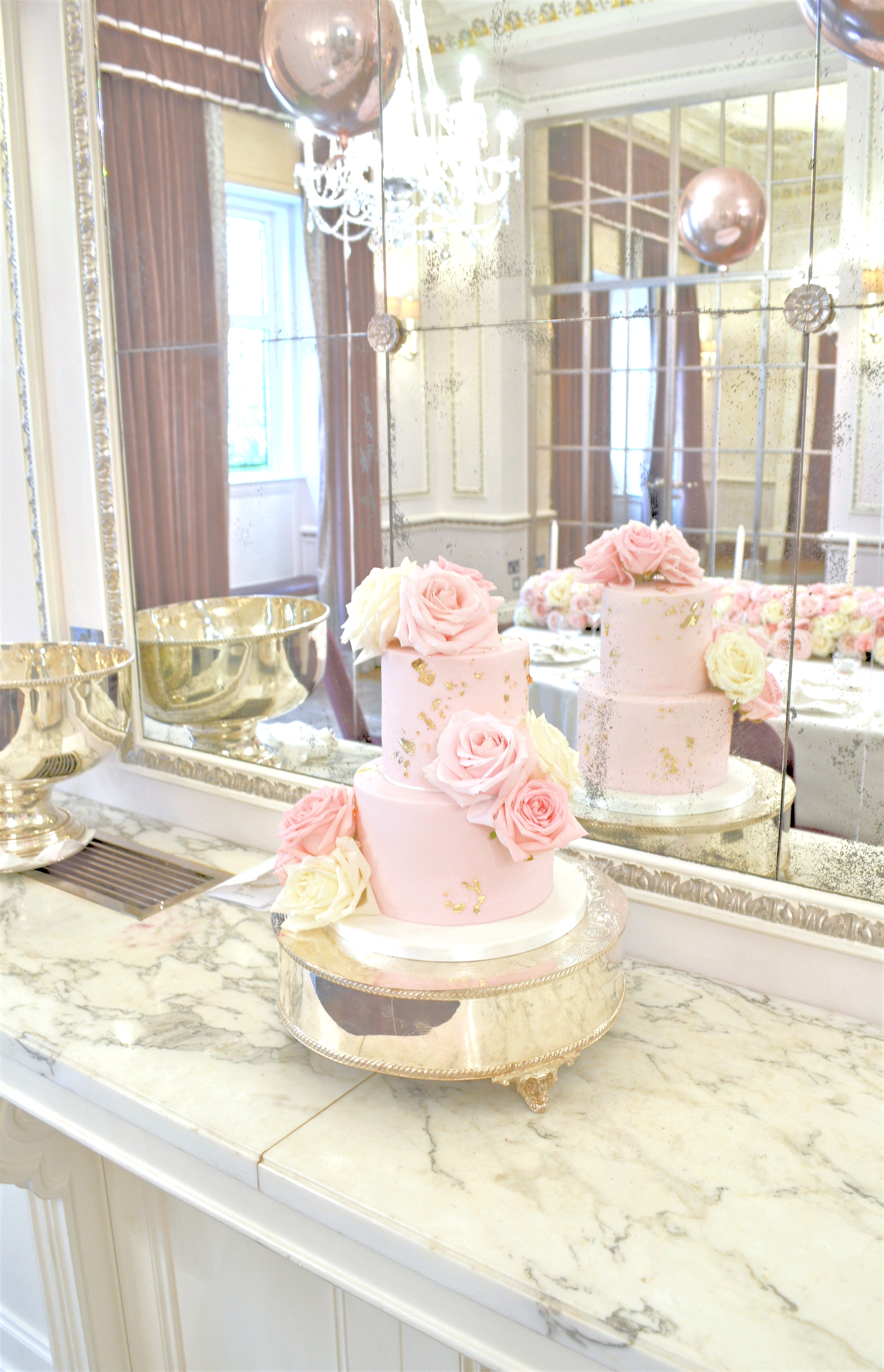 Pink White And Rose Gold Themed Birthday Wedding Cake Flower