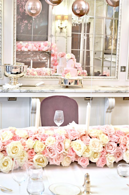 Pink and White Roses Flower Runner Garland Arrangement at The Connaught London Cherie Kelly