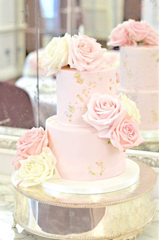 Pink and White Roses Gold Leaf Wedding Birthday Cake at The Connaught London Cherie Kelly