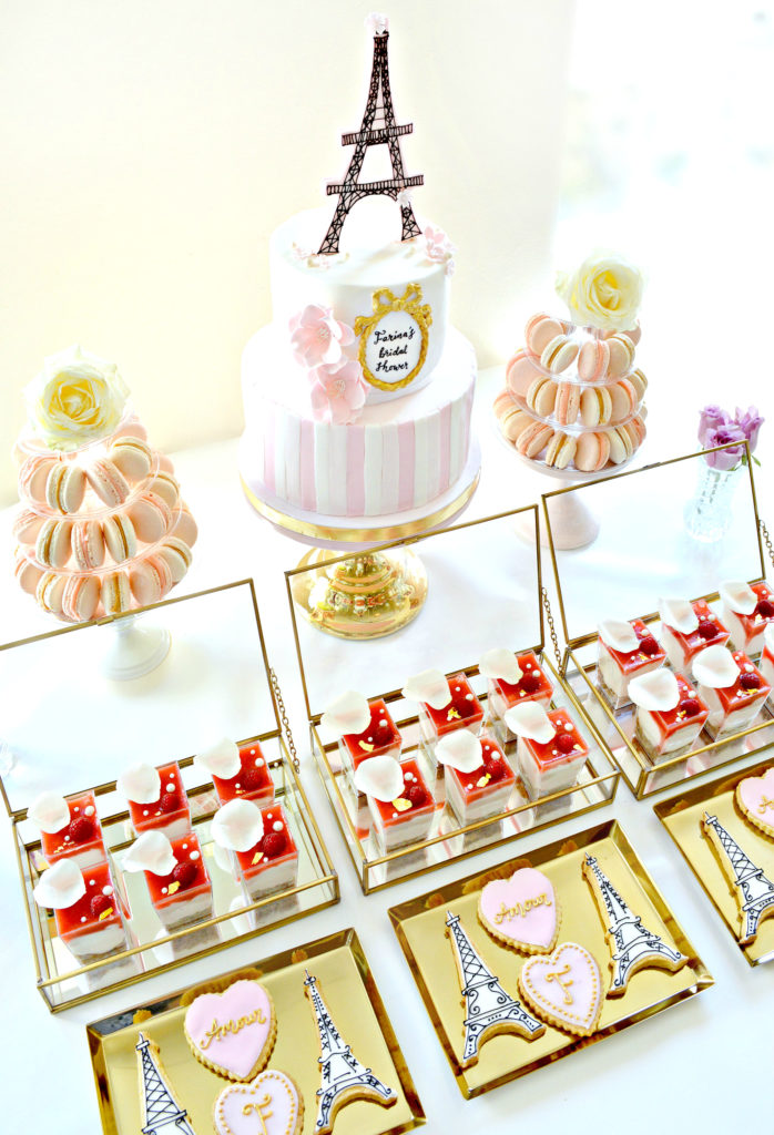 Pink and Gold Paris Eiffel Tower Themed Bridal Shower Cake Table Cherie Kelly London