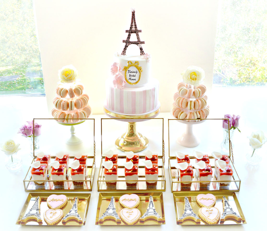Pink and Gold Paris Themed Bridal Shower Cake Table Cherie Kelly London